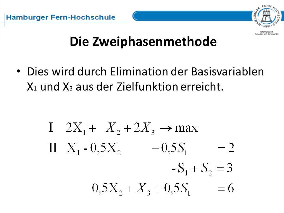 Dies wird durch Elimination der Basisvariablen X 1 und X 3 aus der Zielfunktion erreicht. Die Zweiphasenmethode