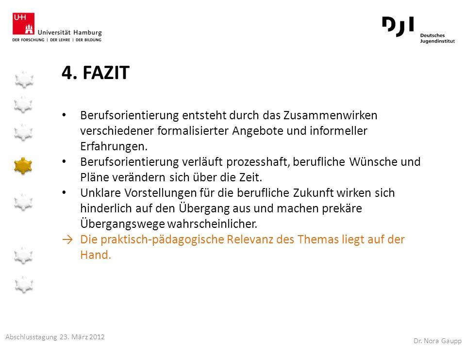 4. FAZIT Berufsorientierung entsteht durch das Zusammenwirken verschiedener formalisierter Angebote und informeller Erfahrungen. Berufsorientierung ve