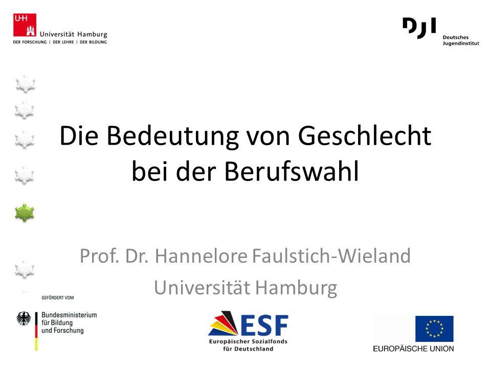 Die Bedeutung von Geschlecht bei der Berufswahl Prof. Dr. Hannelore Faulstich-Wieland Universität Hamburg
