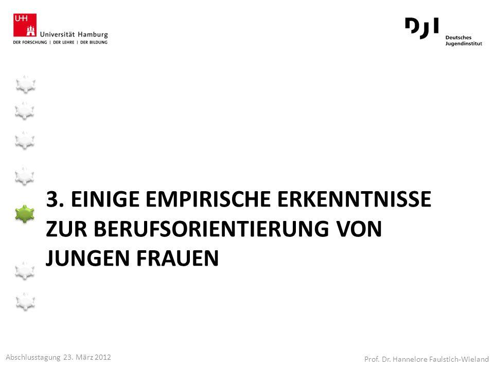 3. EINIGE EMPIRISCHE ERKENNTNISSE ZUR BERUFSORIENTIERUNG VON JUNGEN FRAUEN Prof. Dr. Hannelore Faulstich-Wieland Abschlusstagung 23. März 2012