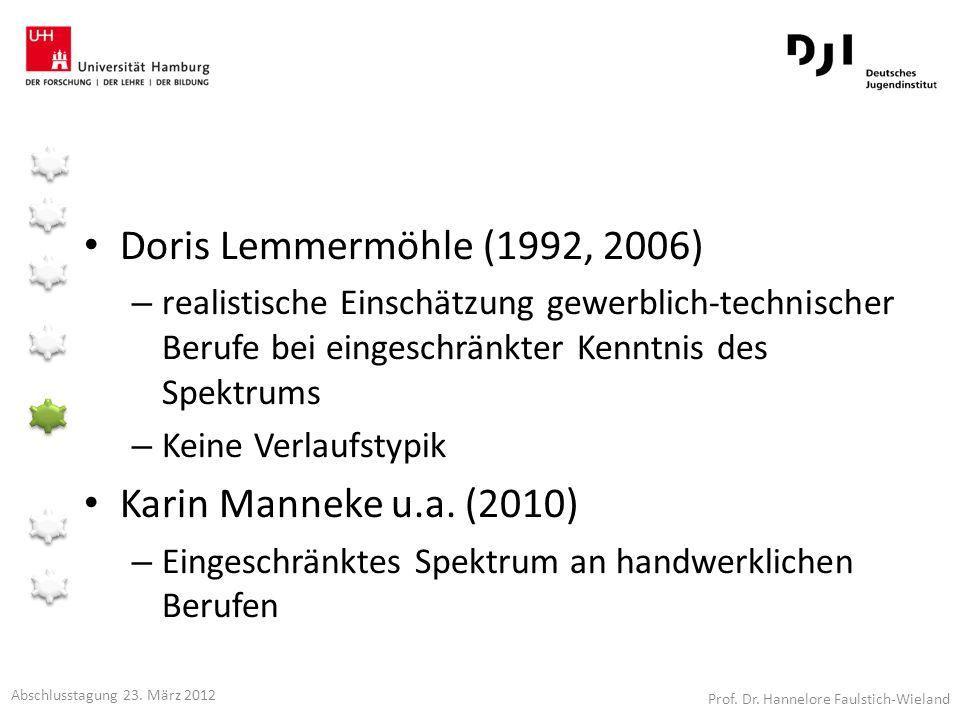 Doris Lemmermöhle (1992, 2006) – realistische Einschätzung gewerblich-technischer Berufe bei eingeschränkter Kenntnis des Spektrums – Keine Verlaufsty