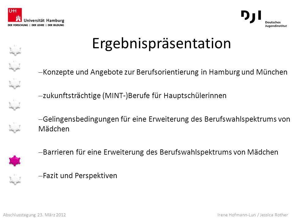 Abschlusstagung 23. März 2012 Irene Hofmann-Lun / Jessica Rother Konzepte und Angebote zur Berufsorientierung in Hamburg und München zukunftsträchtige