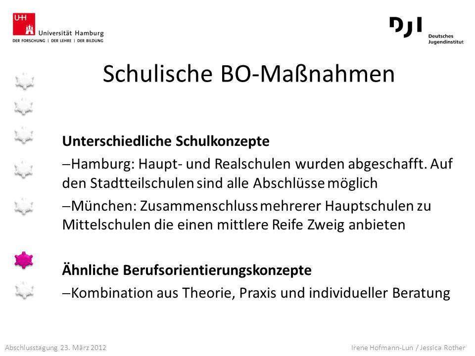 Abschlusstagung 23. März 2012 Irene Hofmann-Lun / Jessica Rother Schulische BO-Maßnahmen Unterschiedliche Schulkonzepte Hamburg: Haupt- und Realschule