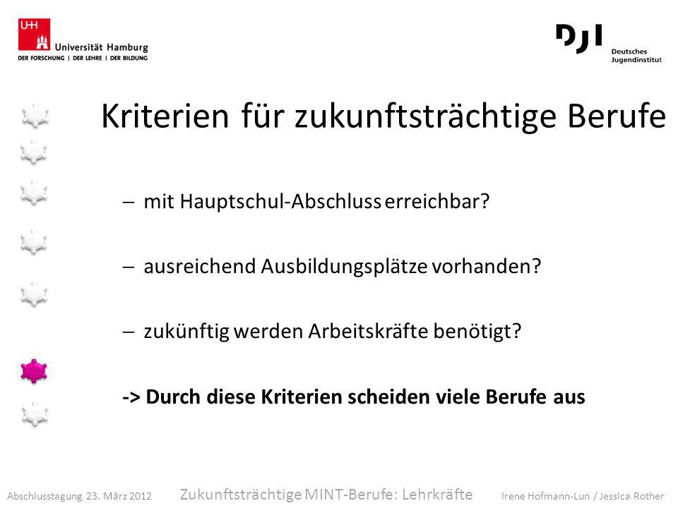 Abschlusstagung 23. März 2012 Irene Hofmann-Lun / Jessica Rother Kriterien für zukunftsträchtige Berufe mit Hauptschul-Abschluss erreichbar? ausreiche