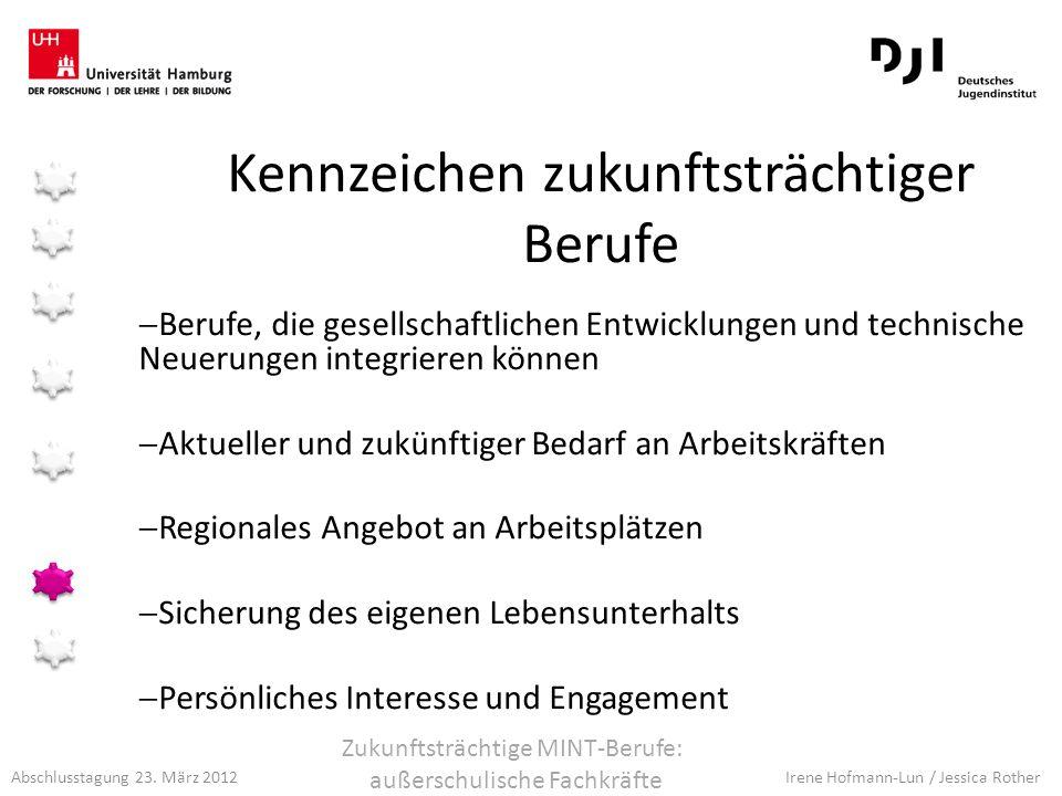 Abschlusstagung 23. März 2012 Irene Hofmann-Lun / Jessica Rother Kennzeichen zukunftsträchtiger Berufe Berufe, die gesellschaftlichen Entwicklungen un