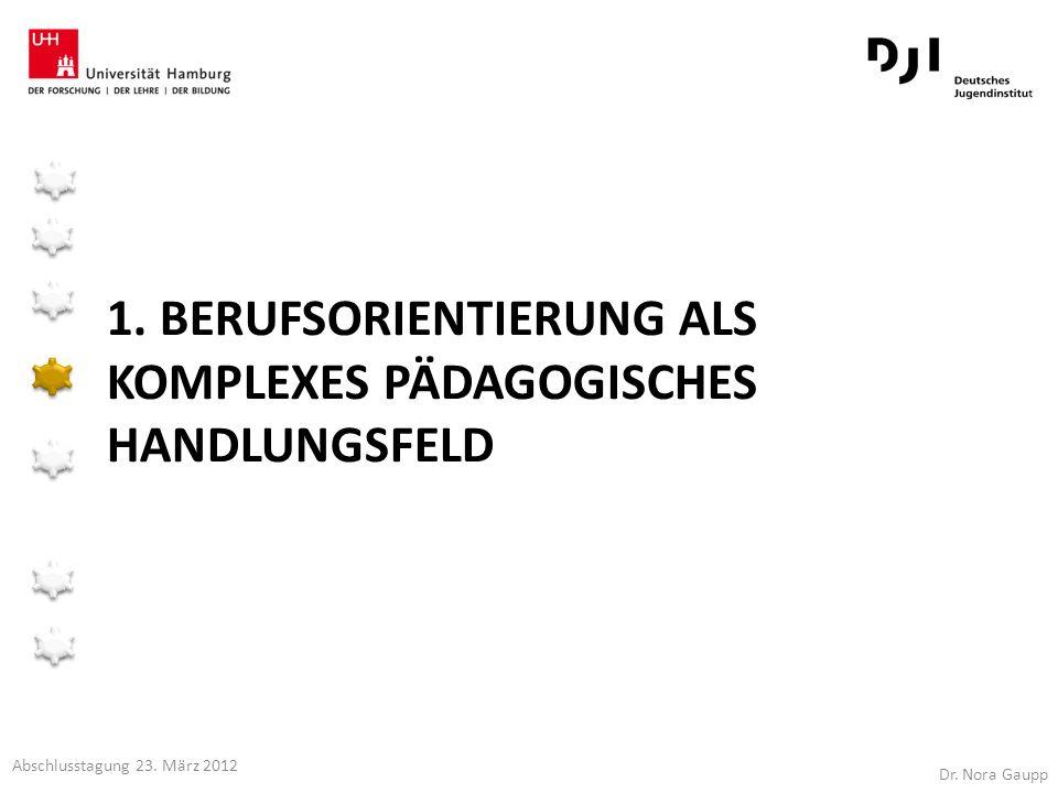 1. BERUFSORIENTIERUNG ALS KOMPLEXES PÄDAGOGISCHES HANDLUNGSFELD Dr. Nora Gaupp Abschlusstagung 23. März 2012