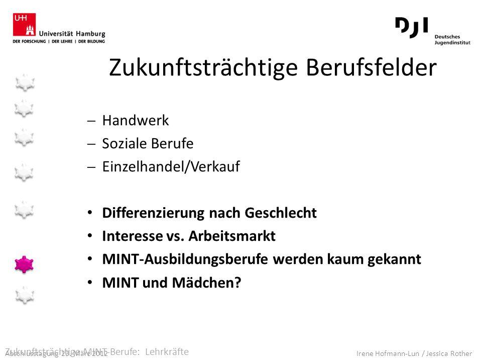 Abschlusstagung 23. März 2012 Irene Hofmann-Lun / Jessica Rother Zukunftsträchtige Berufsfelder Handwerk Soziale Berufe Einzelhandel/Verkauf Differenz