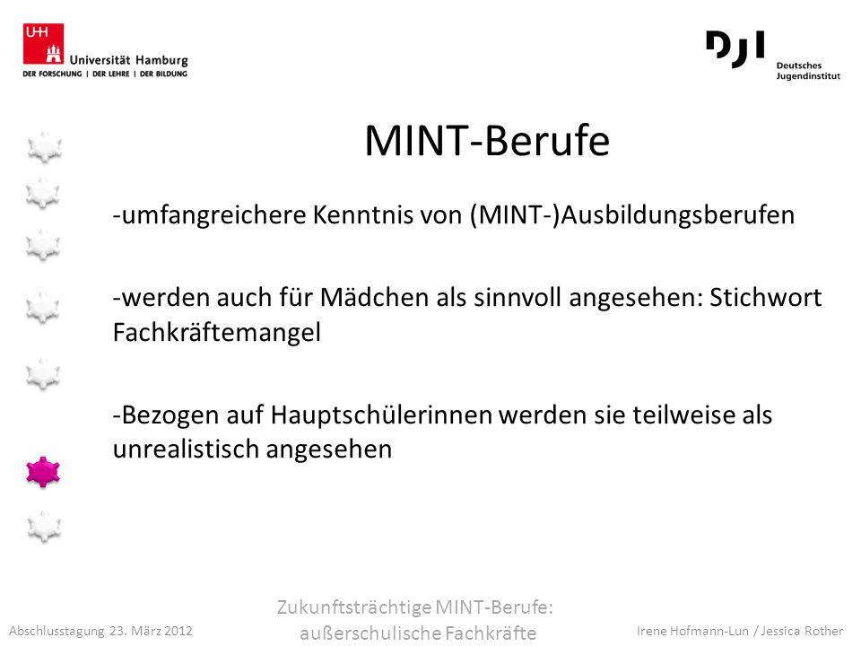 Abschlusstagung 23. März 2012 Irene Hofmann-Lun / Jessica Rother MINT-Berufe -umfangreichere Kenntnis von (MINT-)Ausbildungsberufen -werden auch für M