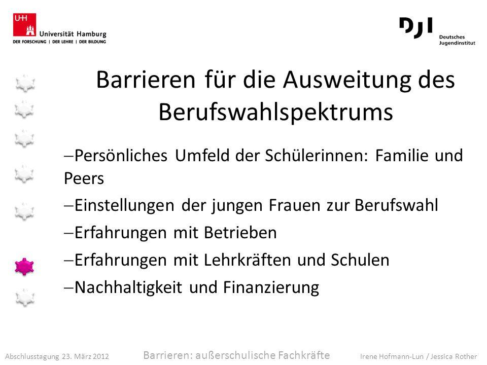 Abschlusstagung 23. März 2012 Irene Hofmann-Lun / Jessica Rother Barrieren für die Ausweitung des Berufswahlspektrums Persönliches Umfeld der Schüleri