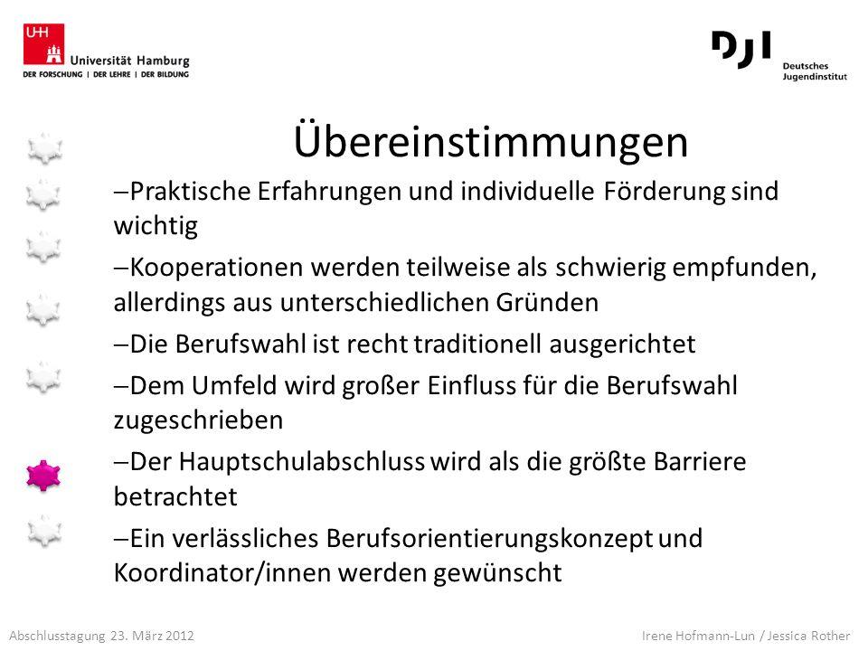 Abschlusstagung 23. März 2012 Irene Hofmann-Lun / Jessica Rother Übereinstimmungen Praktische Erfahrungen und individuelle Förderung sind wichtig Koop