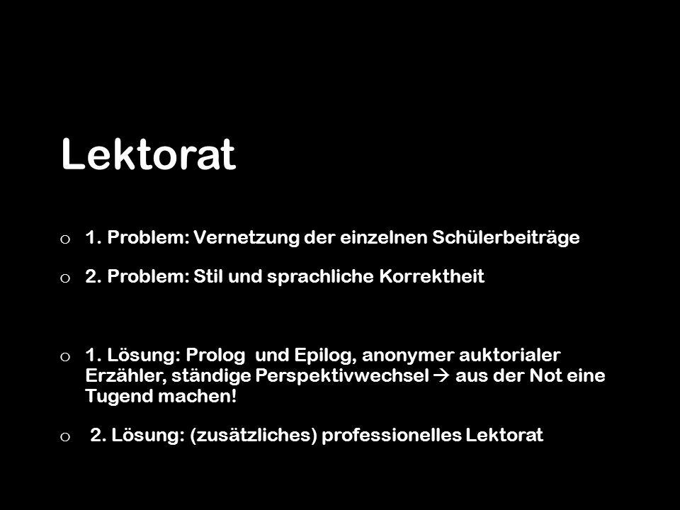 Lektorat o 1. Problem: Vernetzung der einzelnen Schülerbeiträge o 2. Problem: Stil und sprachliche Korrektheit o 1. Lösung: Prolog und Epilog, anonyme