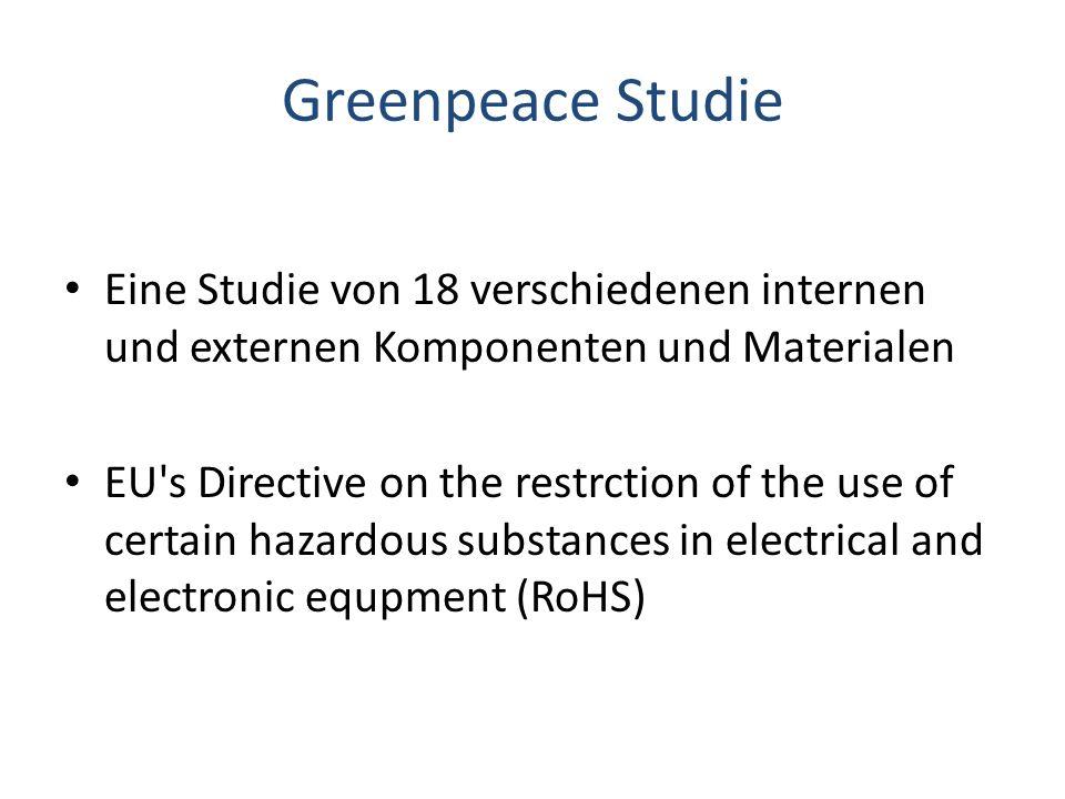 Greenpeace Studie Die Studie begrenzt auf 18 Samples Bei Hälfte der Komponenten wurde Brom festgestellt Antimon (nicht reguliert von RoHS) wurde in 4 von 18 getesteten Komponenten gefunden The plastic coating of the headphone cables contains high levels of chlorine along with phthalates plasticisers