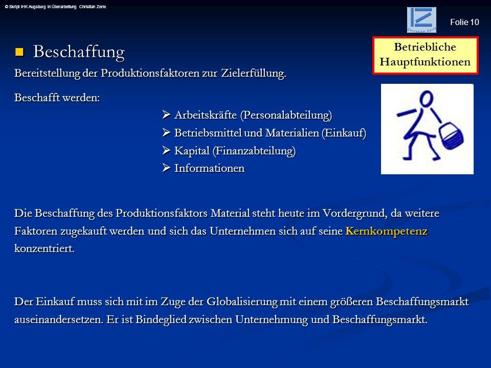 Folie 10 © Skript IHK Augsburg in Überarbeitung Christian Zerle Beschaffung Beschaffung Bereitstellung der Produktionsfaktoren zur Zielerfüllung. Besc