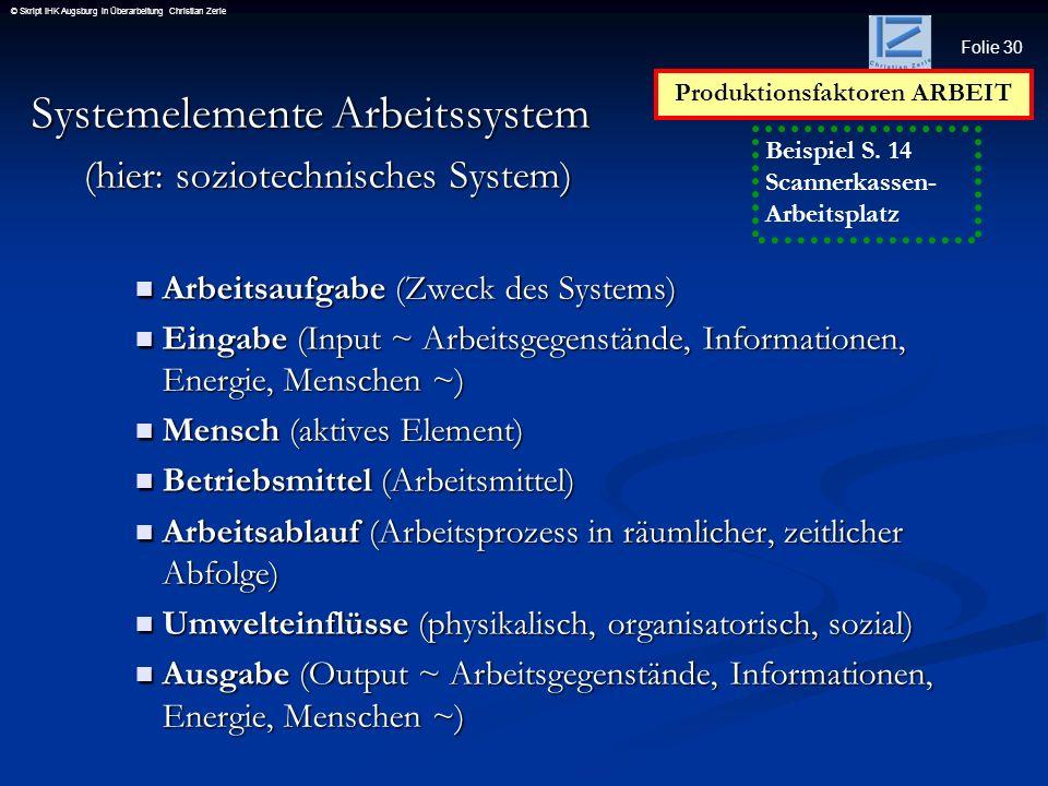 Folie 30 © Skript IHK Augsburg in Überarbeitung Christian Zerle Systemelemente Arbeitssystem (hier: soziotechnisches System) Arbeitsaufgabe (Zweck des