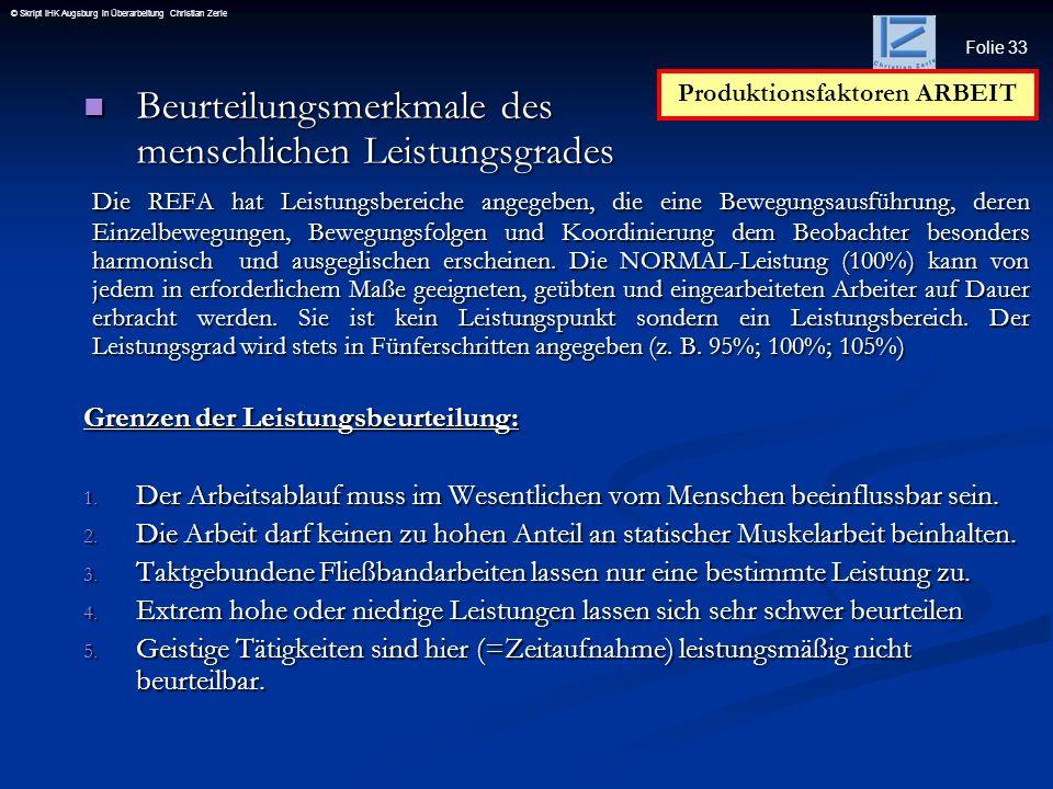 Folie 33 © Skript IHK Augsburg in Überarbeitung Christian Zerle Beurteilungsmerkmale des menschlichen Leistungsgrades Beurteilungsmerkmale des menschl