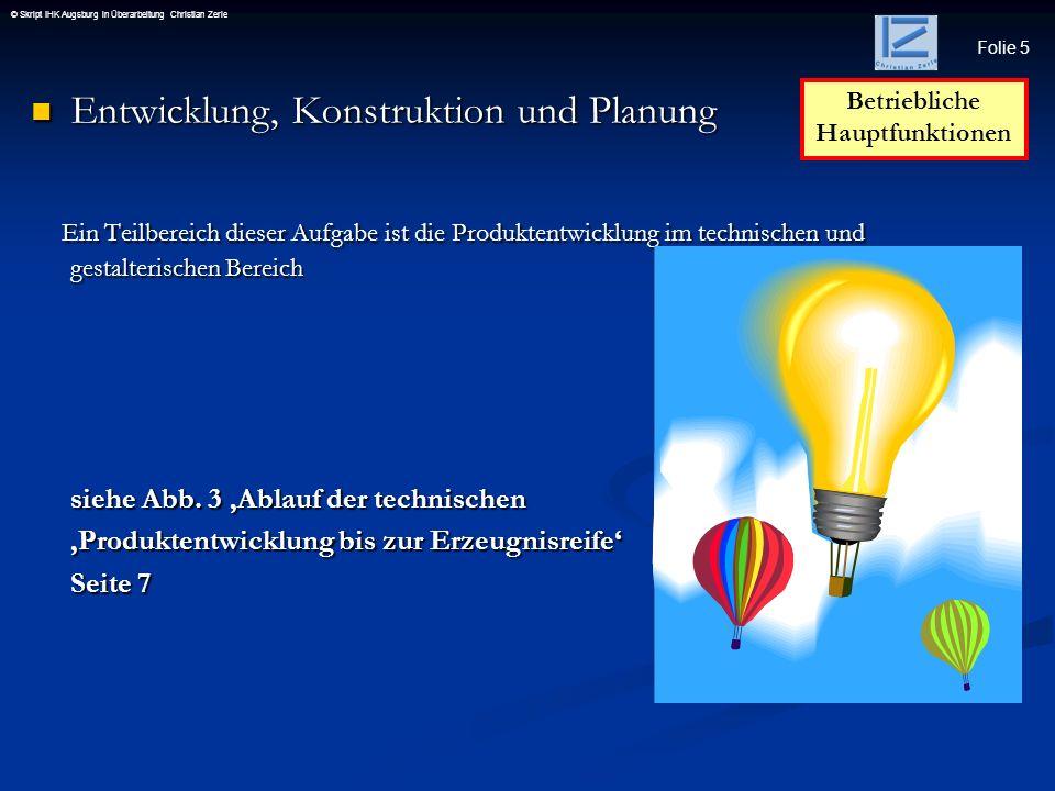 Folie 16 © Skript IHK Augsburg in Überarbeitung Christian Zerle Produktionsfaktoren ARBEIT