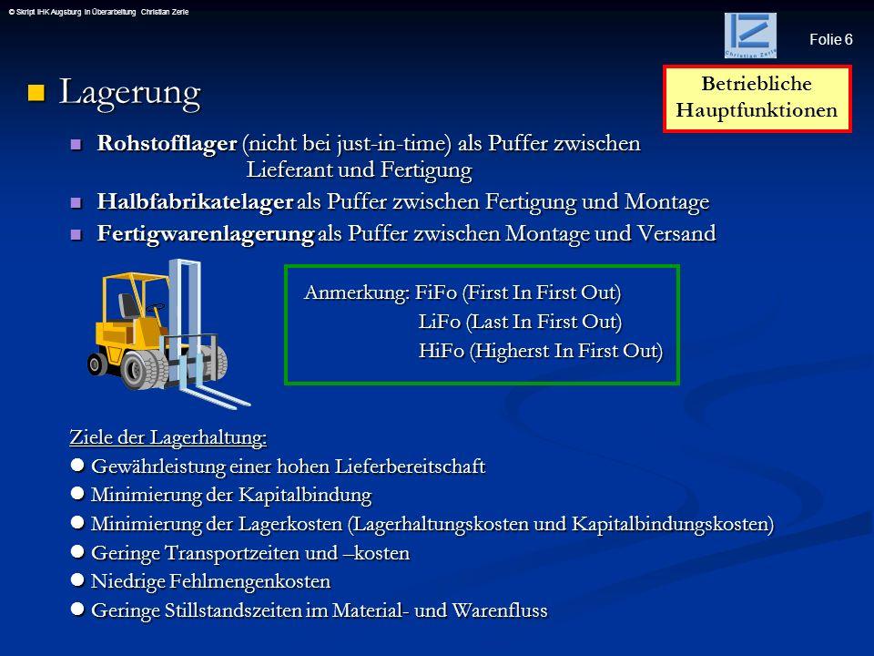 Folie 6 © Skript IHK Augsburg in Überarbeitung Christian Zerle Lagerung Lagerung Rohstofflager (nicht bei just-in-time) als Puffer zwischen Lieferant