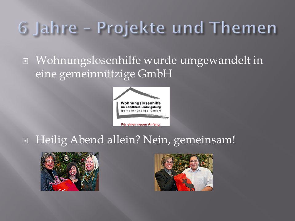 Wohnungslosenhilfe wurde umgewandelt in eine gemeinnützige GmbH Heilig Abend allein.