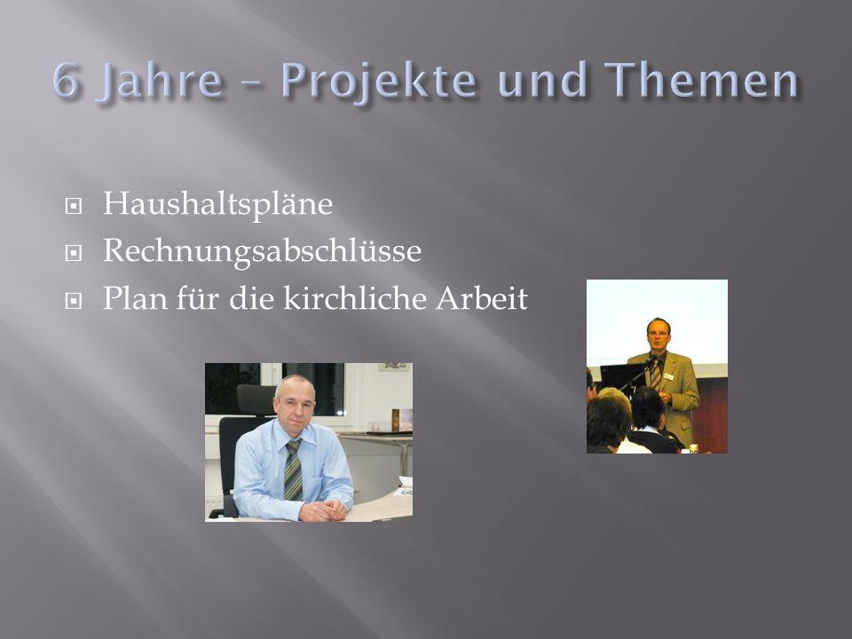 Haushaltspläne Rechnungsabschlüsse Plan für die kirchliche Arbeit