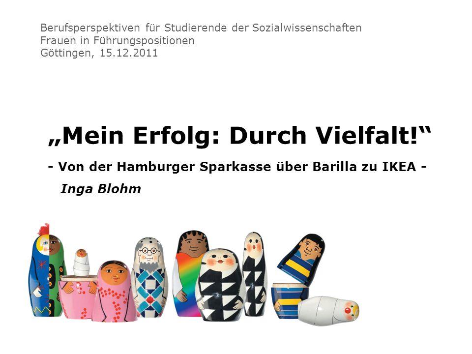 Berufsperspektiven für Studierende der Sozialwissenschaften Frauen in Führungspositionen Göttingen, 15.12.2011 Mein Erfolg: Durch Vielfalt! - Von der