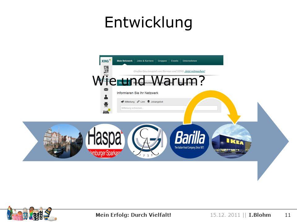 Entwicklung Mein Erfolg: Durch Vielfalt!15.12. 2011 || I.Blohm 11 Wie und Warum?