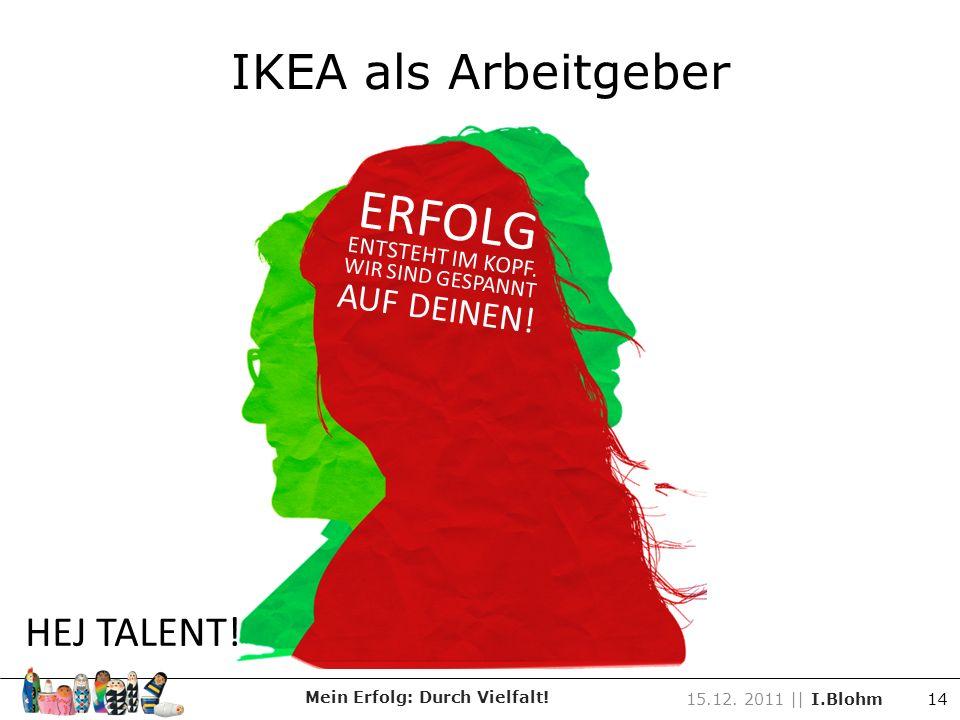Mein Erfolg: Durch Vielfalt! 15.12. 2011 || I.Blohm 14 ERFOLG ENTSTEHT IM KOPF. WIR SIND GESPANNT AUF DEINEN! HEJ TALENT!