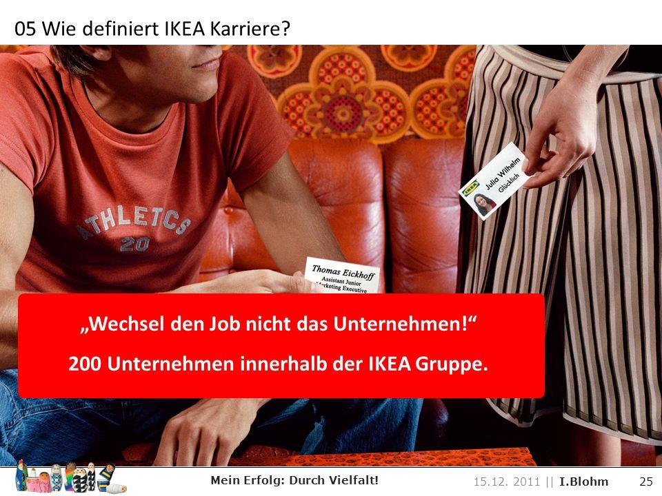 Wechsel den Job nicht das Unternehmen! 200 Unternehmen innerhalb der IKEA Gruppe. Mein Erfolg: Durch Vielfalt! 15.12. 2011 || I.Blohm 25 05 Wie defini