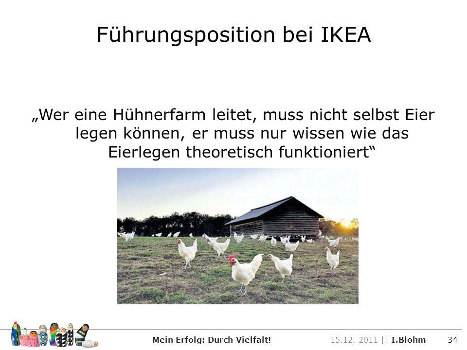 Wer eine Hühnerfarm leitet, muss nicht selbst Eier legen können, er muss nur wissen wie das Eierlegen theoretisch funktioniert Führungsposition bei IK