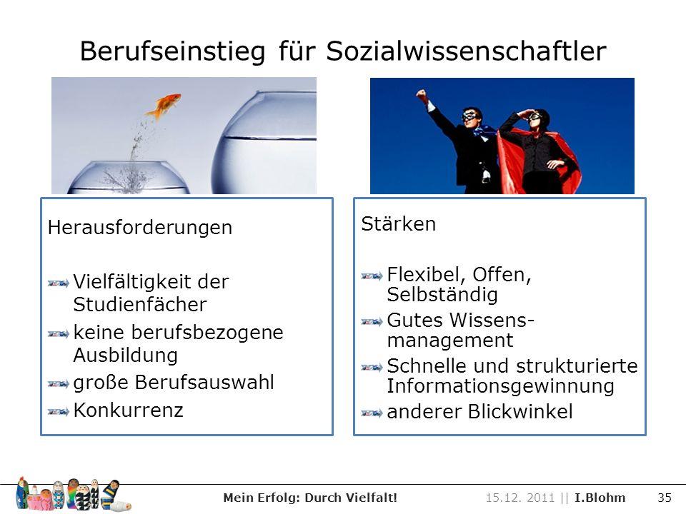 Berufseinstieg für Sozialwissenschaftler Mein Erfolg: Durch Vielfalt!15.12. 2011 || I.Blohm 35 Herausforderungen Vielfältigkeit der Studienfächer kein