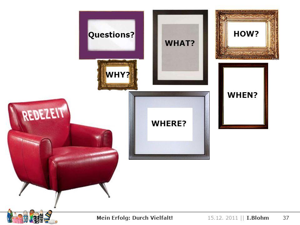 Mein Erfolg: Durch Vielfalt!15.12. 2011 || I.Blohm 37 Zeit für Fragen Questions? WHAT? HOW? WHY? WHEN? WHERE? WHEN?