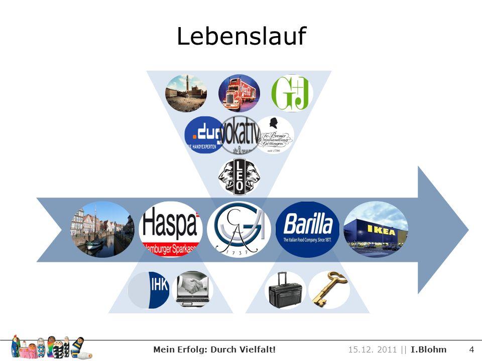 Lebenslauf Mein Erfolg: Durch Vielfalt!15.12. 2011 || I.Blohm 4