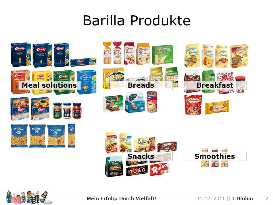 Barilla Produkte Meal solutions Mein Erfolg: Durch Vielfalt!15.12. 2011 || I.Blohm 7 Breads SnacksSmoothies Breakfast