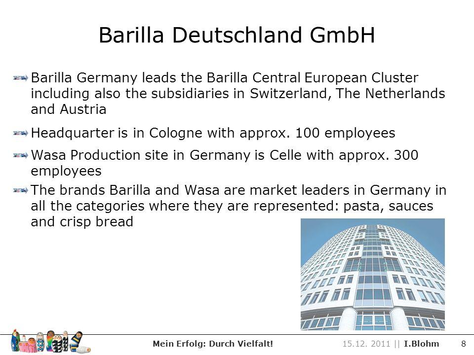 Barilla Deutschland GmbH Mein Erfolg: Durch Vielfalt!15.12. 2011 || I.Blohm 8 Barilla Germany leads the Barilla Central European Cluster including als