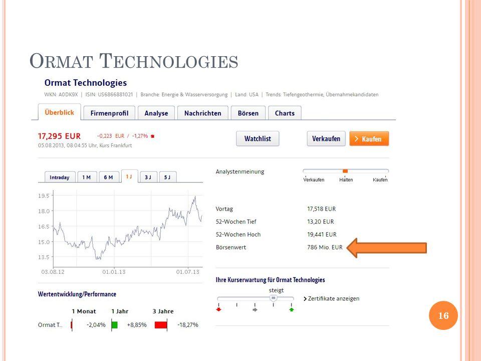 O RMAT T ECHNOLOGIES 16