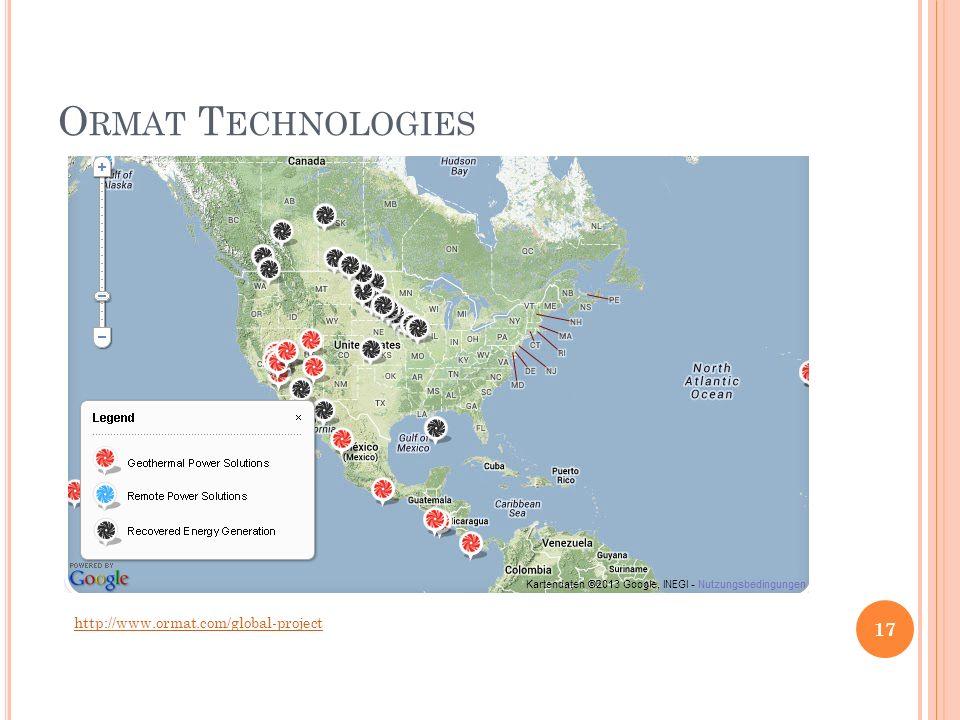 O RMAT T ECHNOLOGIES http://www.ormat.com/global-project 17