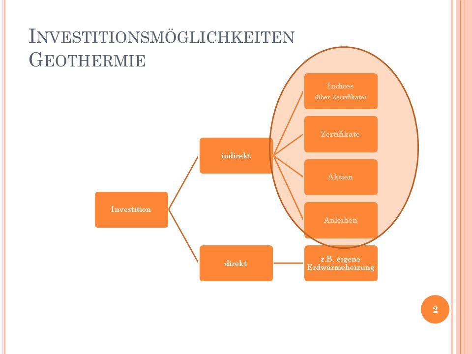 I NVESTITIONSMÖGLICHKEITEN G EOTHERMIE Investitionindirekt Indices (über Zertifikate) ZertifikateAktienAnleihendirekt z.B.