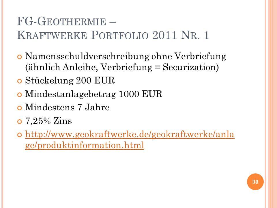 FG-G EOTHERMIE – K RAFTWERKE P ORTFOLIO 2011 N R.