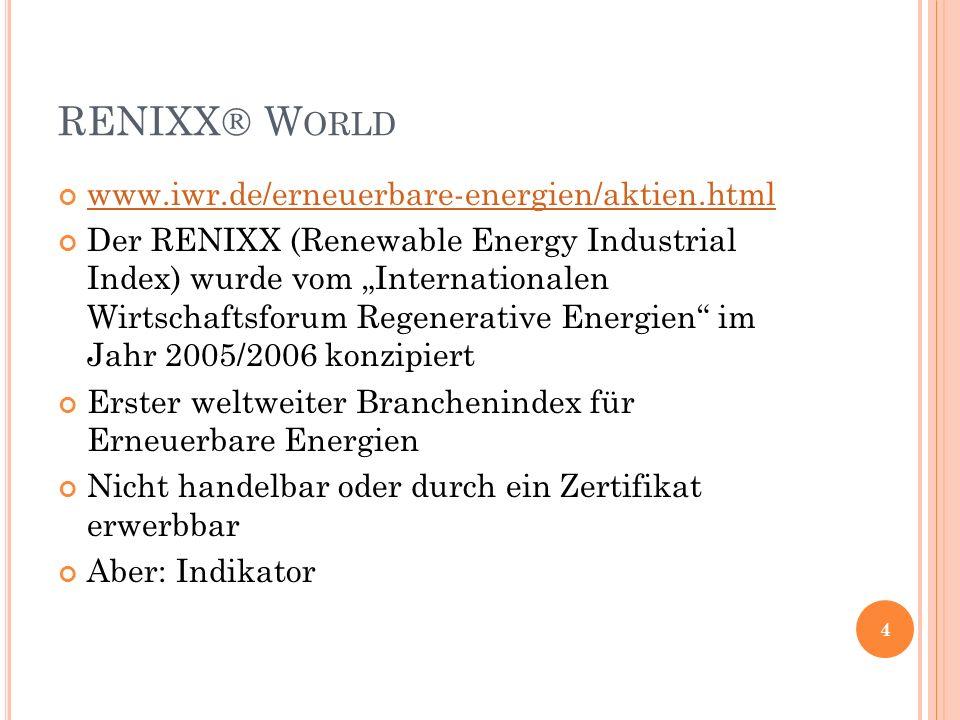 RENIXX W ORLD www.iwr.de/erneuerbare-energien/aktien.html Der RENIXX (Renewable Energy Industrial Index) wurde vom Internationalen Wirtschaftsforum Regenerative Energien im Jahr 2005/2006 konzipiert Erster weltweiter Branchenindex für Erneuerbare Energien Nicht handelbar oder durch ein Zertifikat erwerbbar Aber: Indikator 4