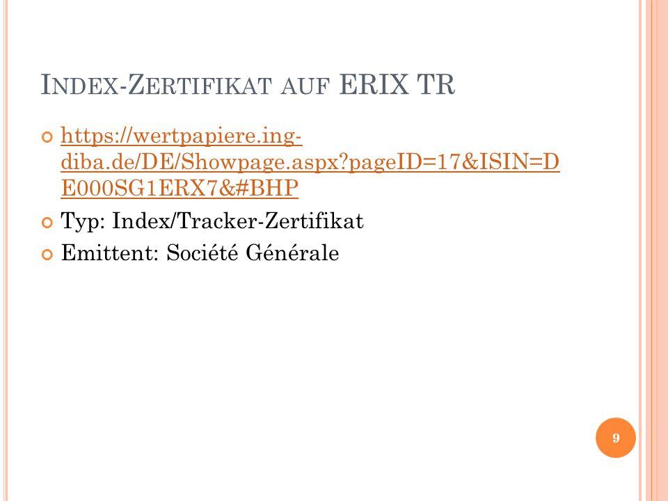 I NDEX -Z ERTIFIKAT AUF ERIX TR https://wertpapiere.ing- diba.de/DE/Showpage.aspx pageID=17&ISIN=D E000SG1ERX7&#BHP https://wertpapiere.ing- diba.de/DE/Showpage.aspx pageID=17&ISIN=D E000SG1ERX7&#BHP Typ: Index/Tracker-Zertifikat Emittent: Société Générale 9