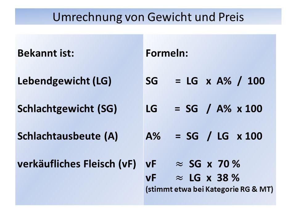 Umrechnung von Gewicht und Preis Bekannt ist: Lebendgewicht (LG) Schlachtgewicht (SG) Schlachtausbeute (A) verkäufliches Fleisch (vF)