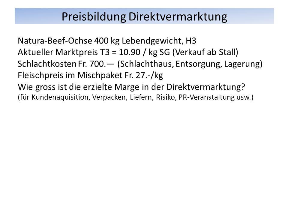 Preisbildung Direktvermarktung Natura-Beef-Ochse 400 kg Lebendgewicht, H3 Aktueller Marktpreis T3 = 10.90 / kg SG (Verkauf ab Stall) Schlachtkosten Fr.