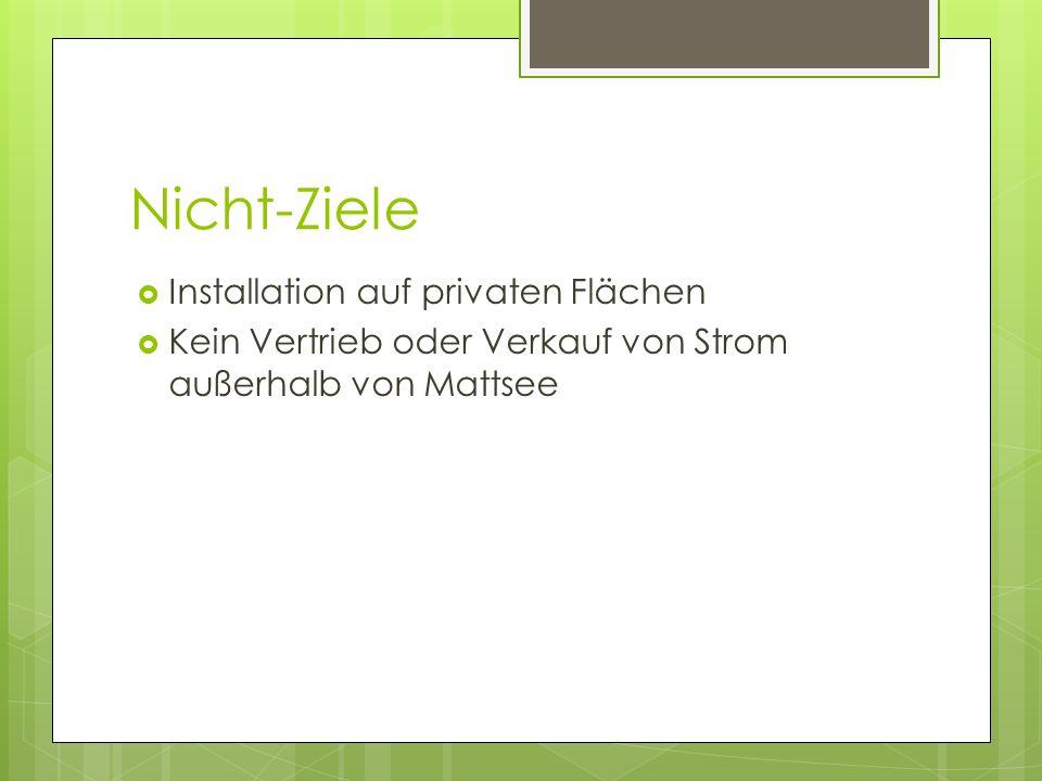 Nicht-Ziele Installation auf privaten Flächen Kein Vertrieb oder Verkauf von Strom außerhalb von Mattsee