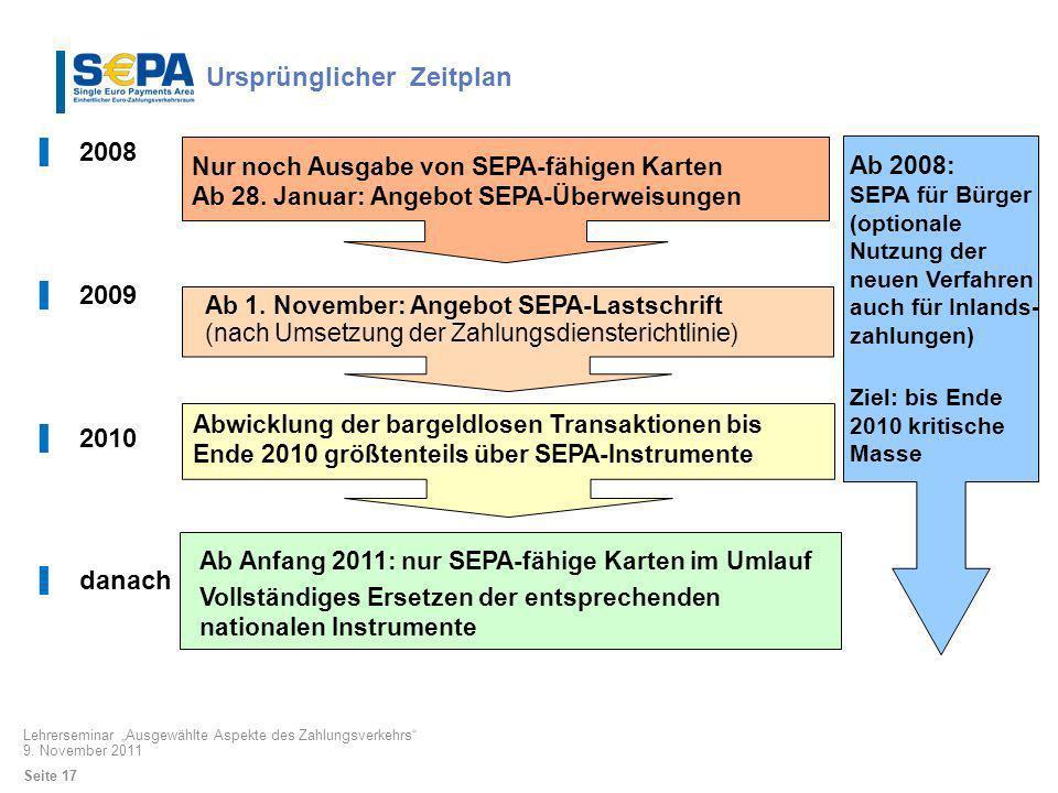 2008 2009 2010 danach Nur noch Ausgabe von SEPA-fähigen Karten Ab 28. Januar: Angebot SEPA-Überweisungen Ab 1. November: Angebot SEPA-Lastschrift (nac