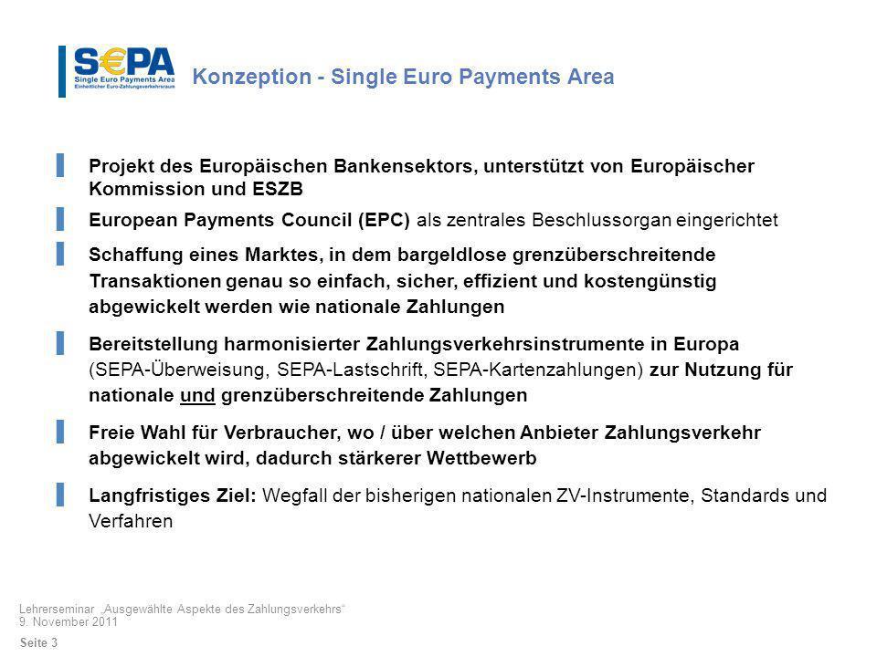 Konzeption - Single Euro Payments Area Projekt des Europäischen Bankensektors, unterstützt von Europäischer Kommission und ESZB European Payments Coun