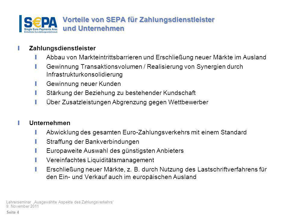 Stand der SEPA-Migration Entwurf für die SEPA-Verordnung Kritische Punkte Endtermine aus deutscher Sicht zu früh Verbot eines generellen Interbankenentgeltes bei der Lastschrift aus französischer Sicht nicht darstellbar Einbeziehung des Großbetragszahlungsverkehrs Frage, ob Zahlungsdienstleister Konvertierungsleistungen (DTA XML) anbieten dürfen/sollen.