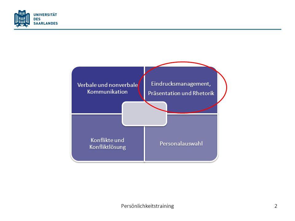 Heutiger Plan… Eindrucksmanagement: Impression Management Planung und Durchführung einer Präsentationen 3Persönlichkeitstraining