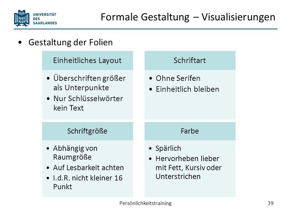 Formale Gestaltung – Visualisierungen Animationen Persönlichkeitstraining40 Nursoviel wie nötigund so wenigwie möglich.