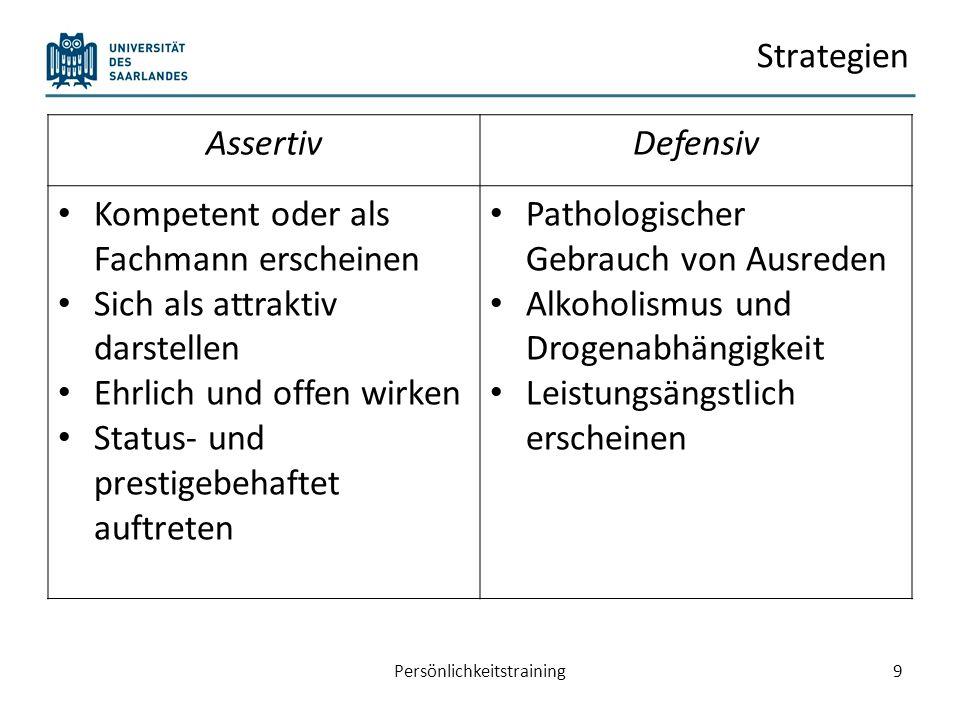 Heutiger Plan… Eindrucksmanagement: Impression Management Planung und Durchführung einer Präsentationen 10Persönlichkeitstraining