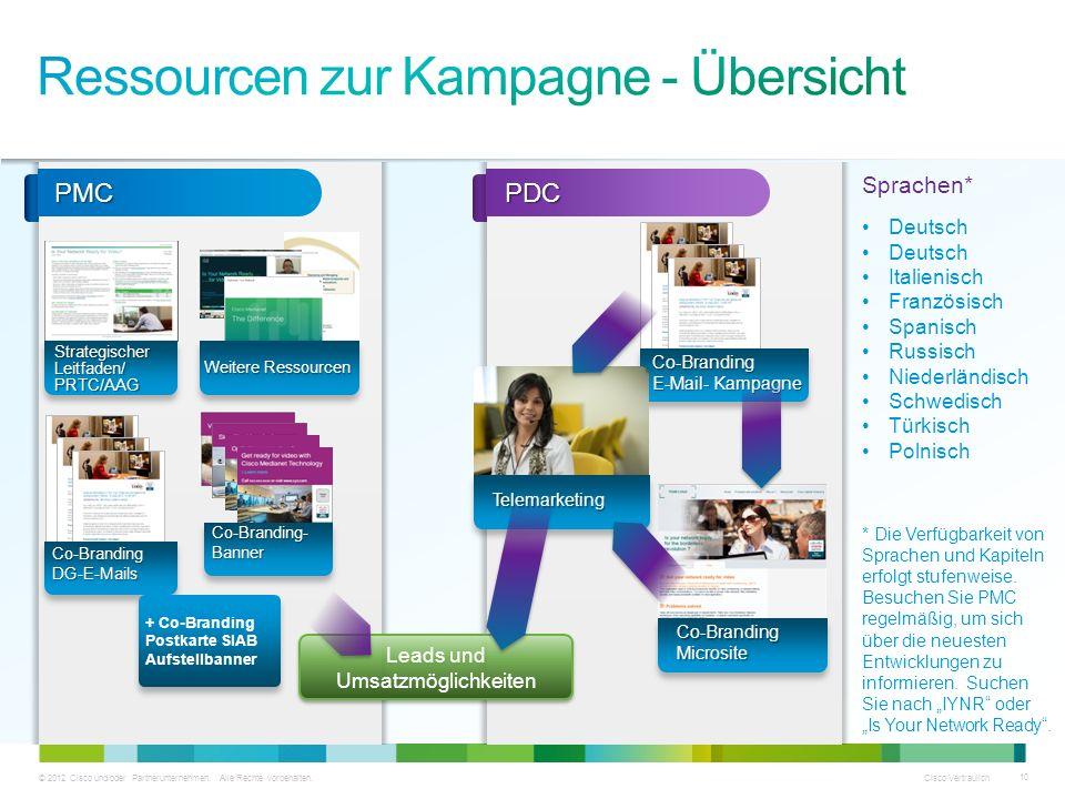 © 2012 Cisco und/oder Partnerunternehmen. Alle Rechte vorbehalten. Cisco Vertraulich 10 Strategischer Leitfaden/ PRTC/AAG Weitere Ressourcen Co-Brandi
