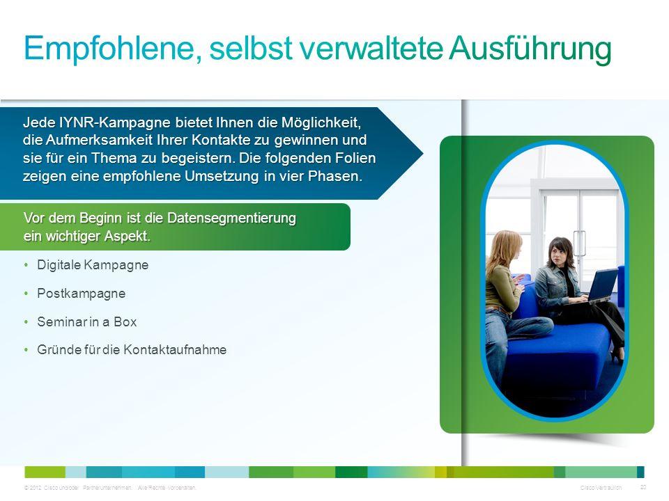 © 2012 Cisco und/oder Partnerunternehmen. Alle Rechte vorbehalten. Cisco Vertraulich 20 Jede IYNR-Kampagne bietet Ihnen die Möglichkeit, die Aufmerksa